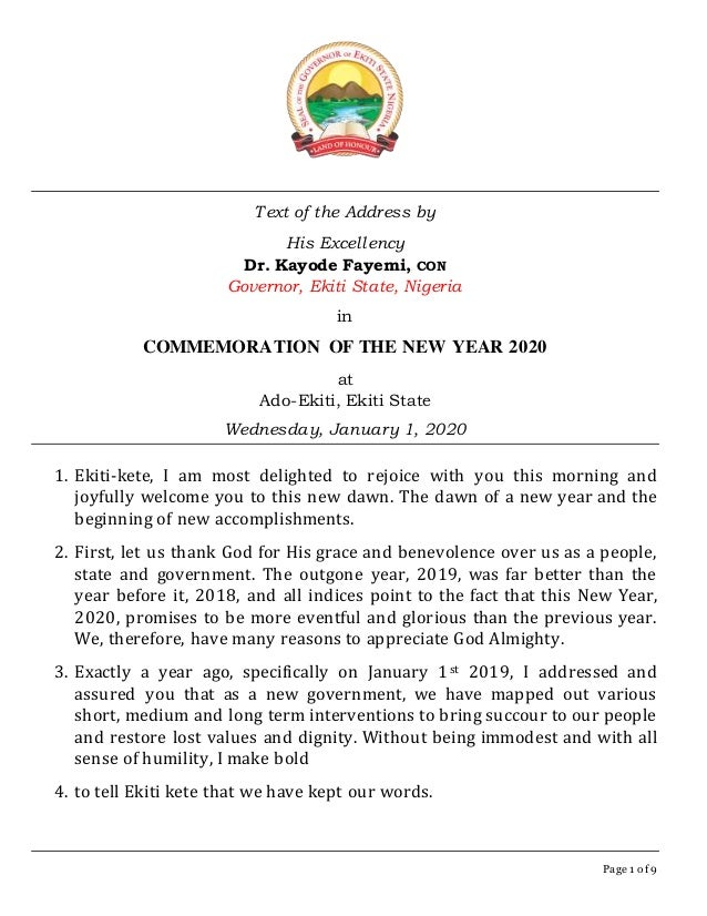 Page 1 of 9 Text of the Address by His Excellency Dr. Kayode Fayemi, CON Governor, Ekiti State, Nigeria in COMMEMORATION O...