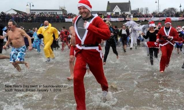 New Year's Day swim at Saundersfoot in south Wales, Britain January 1, 2016.