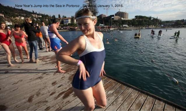 New Year's Jump into the Sea in Portoroz , Slovenia, January 1, 2016.