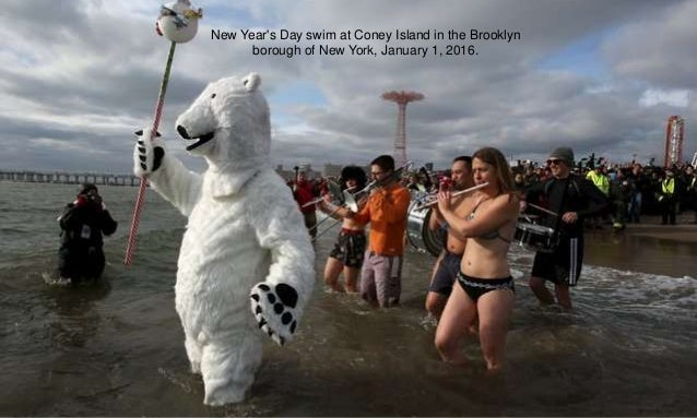 New Year's Day swim at Coney Island in the Brooklyn borough of New York, January 1, 2016.