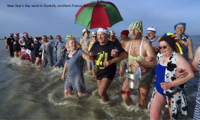New Year's Day swim in Dunkirk, northern France January 1 2016