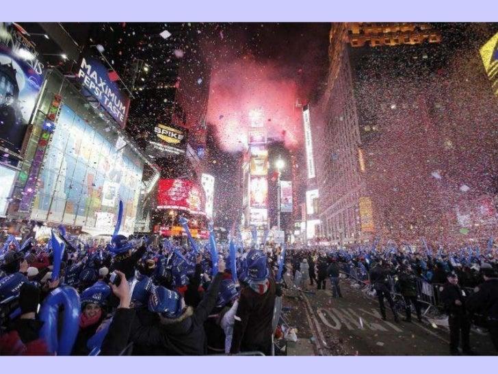 Revelers Cheer Confetti Falls And