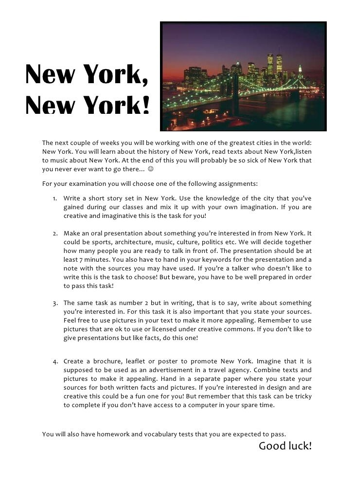 New York, New York! 2514600-457200<br />The next couple of weeks you will be working with one of the greatest cities in th...