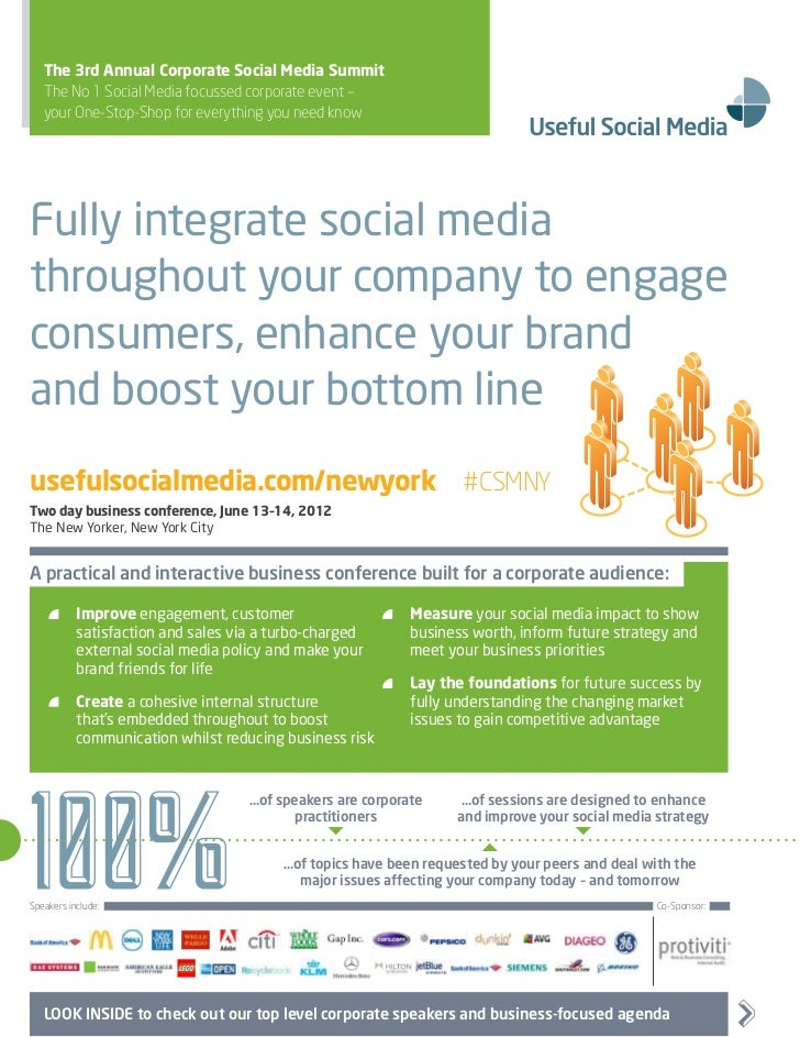 The 3rd Annual Corporate Social Media Summit   The No 1 Social Media focussed corporate event –   your One-Stop-Shop for e...
