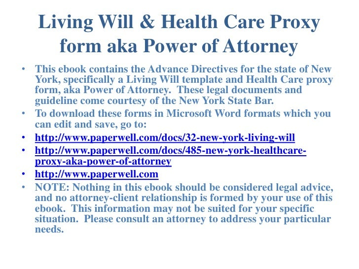 New York Advance Directives Living Will  Health Care Proxy Form Aka