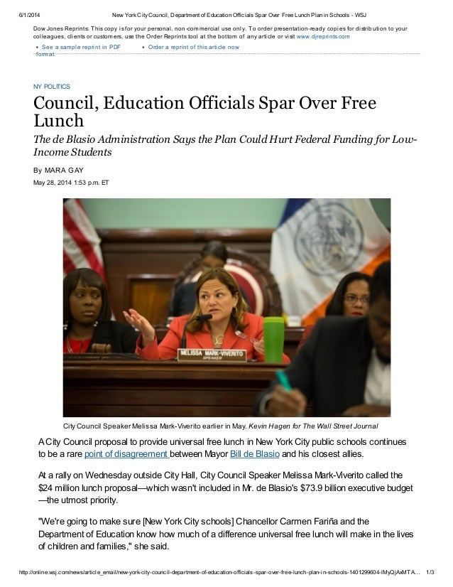 6/1/2014 New YorkCityCouncil, Department of Education Officials Spar Over Free Lunch Plan in Schools - WSJ http://online.w...