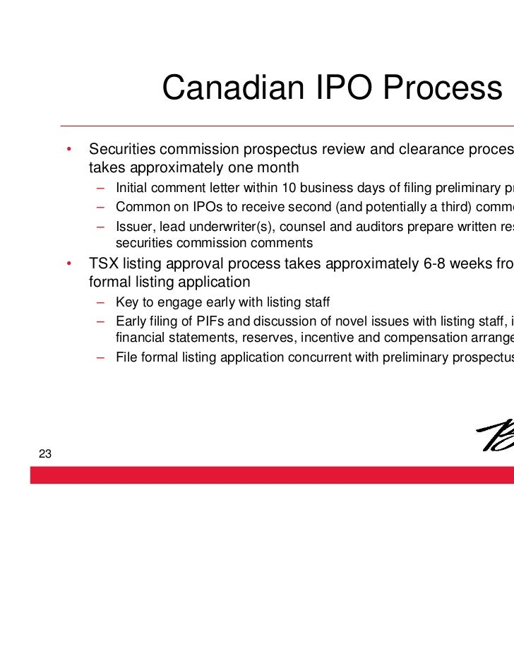 Ipo process in canada
