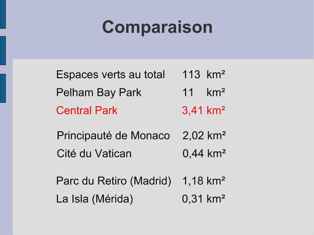 Comparaison Espaces verts au total 113 km² Pelham Bay Park 11 km² Central Park 3,41 km² Principauté de Monaco 2,02 km² Cit...