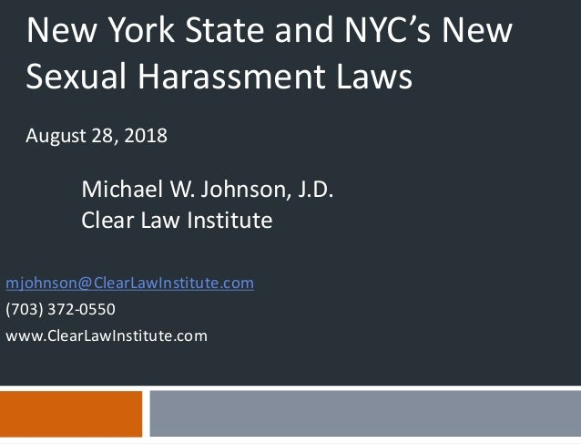 New York State and NYC New Sexual Harassment Laws Webinar