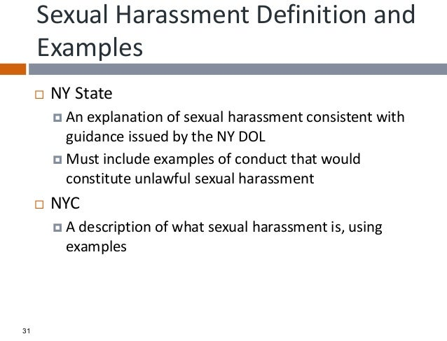 Define sexual harassment state of new york