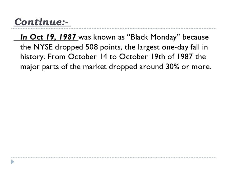 """Continue:- In Oct 19, 1987 was known as """"Black Monday"""" because the NYSE dropped 508 points, the largest one-day fall in hi..."""