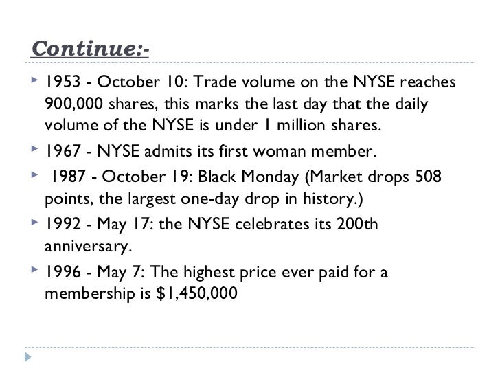 Continue:-   1953 - October 10: Trade volume on the NYSE reaches    900,000 shares, this marks the last day that the dail...