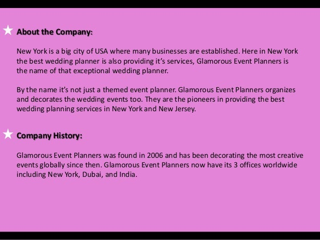 New Yorks Wedding Planners Company Profile