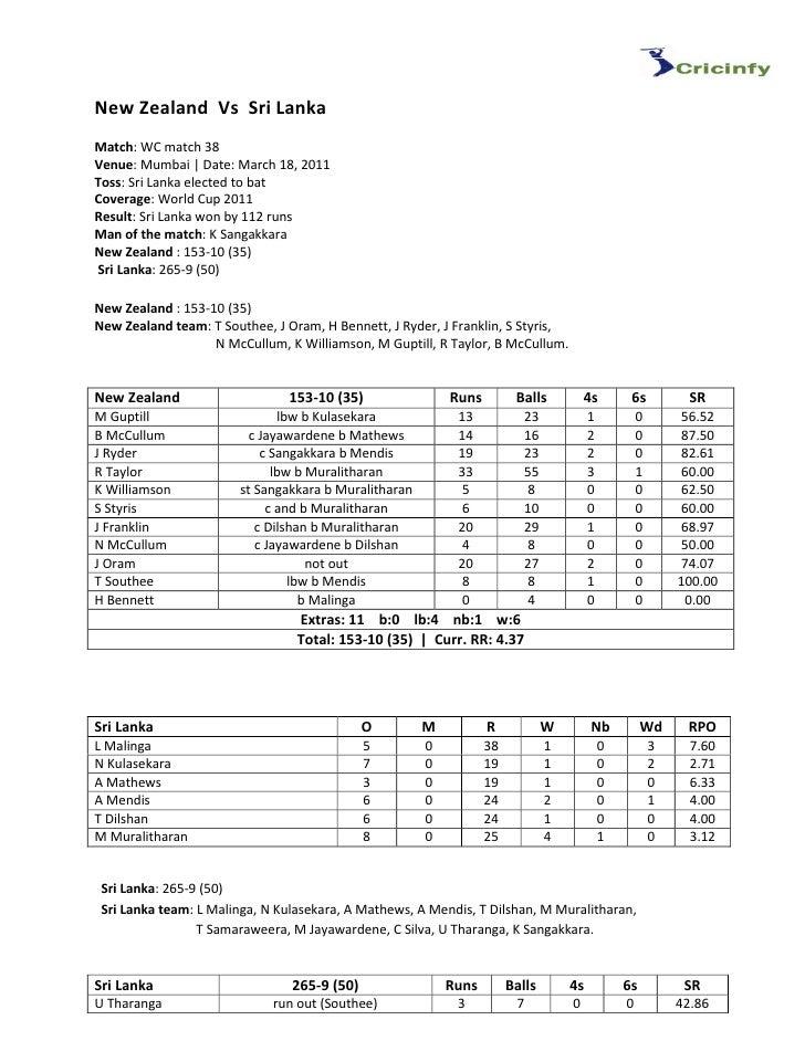 New Zealand Vs Sri LankaMatch: WC match 38Venue: Mumbai | Date: March 18, 2011Toss: Sri Lanka elected to batCoverage: Worl...