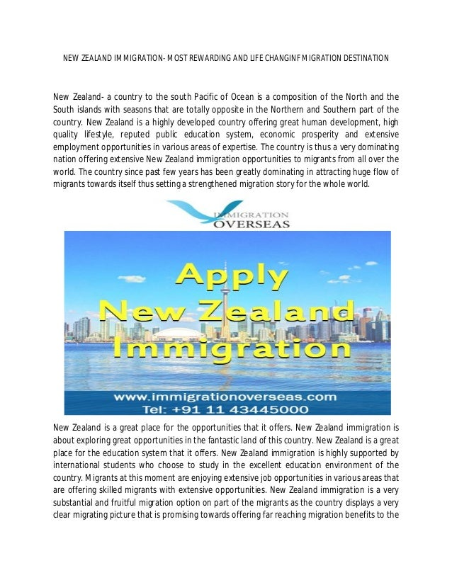 NEW ZEALAND IMMIGRATION- MOST REWARDING AND LIFE CHANGINF MIGRATION DESTINATION New Zealand- a country to the south Pacifi...