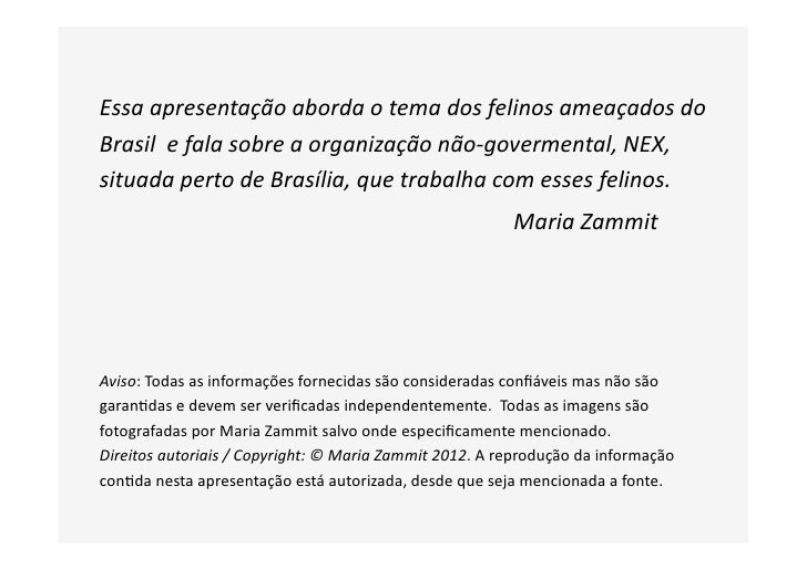 Essa apresentação aborda o tema dos felinos ameaçados do Brasil  e fala sobre a organização...