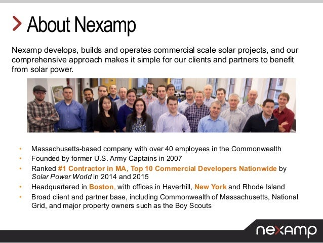 About Nexamp Nexamp develops, builds and operates commercial scale solar projects, and our comprehensive approach makes it...