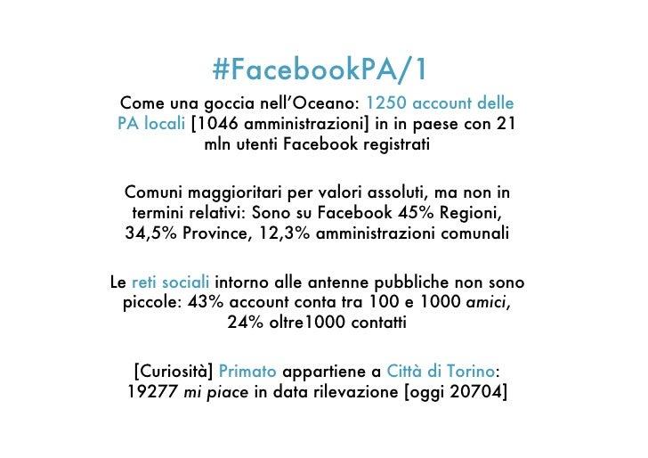 #FacebookPA/1 Come una goccia nell'Oceano: 1250 account delle PA locali [1046 amministrazioni] in in paese con 21         ...