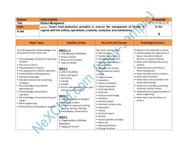 Workflow Planning In The Kitchen. Resources 15