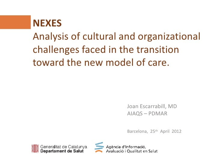 NEXESAnalysis of cultural and organizationalchallenges faced in the transitiontoward the new model of care.Agència d'Infor...