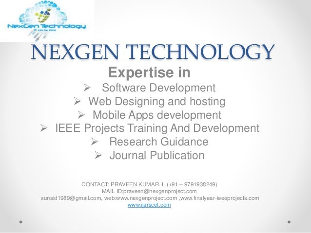 Nexgen Technology Bulk Ieee Projects Ieee Projects In Pondicherry F