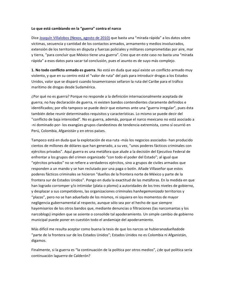 """Lo que está cambiando en la """"guerra"""" contra el narco<br />Dice Joaquín Villalobos (Nexos, agosto de 2010) que basta una """"m..."""