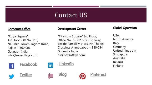 "Contact US Development Centre ""Titanium Square"" 3rd Floor, Office No. B-302, S.G. Highway, Beside Parsoli Motors. Nr. Thal..."