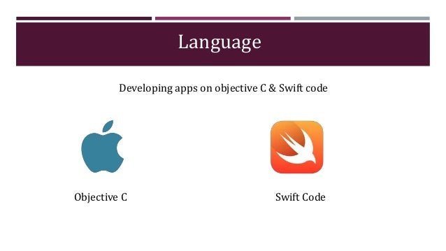 Language Developing apps on objective C & Swift code Objective C Swift Code