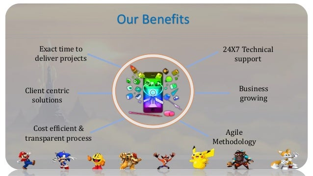 Our Benefits Client centric solutions Exact time to deliver projects Business growing 24X7 Technical support Agile Methodo...