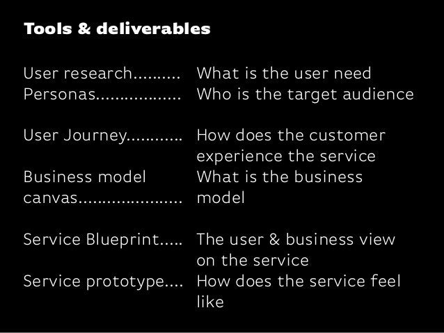 Tools & deliverablesUser research..........Personas..................User Journey............Business modelcanvas............