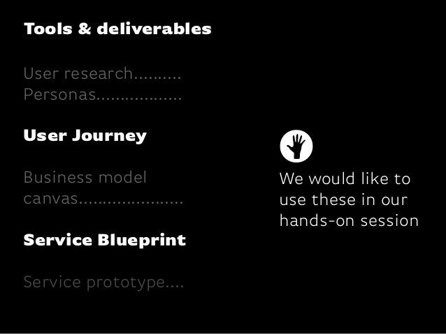 Tools & deliverablesUser research..........Personas..................User JourneyBusiness modelcanvas........................