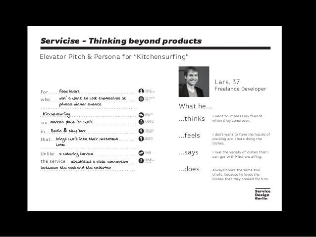 """Servicise - Thinking beyond productsElevator Pitch & Persona for """"Kitchensurfing""""Lars, 37Freelance Developer...thinks...fe..."""