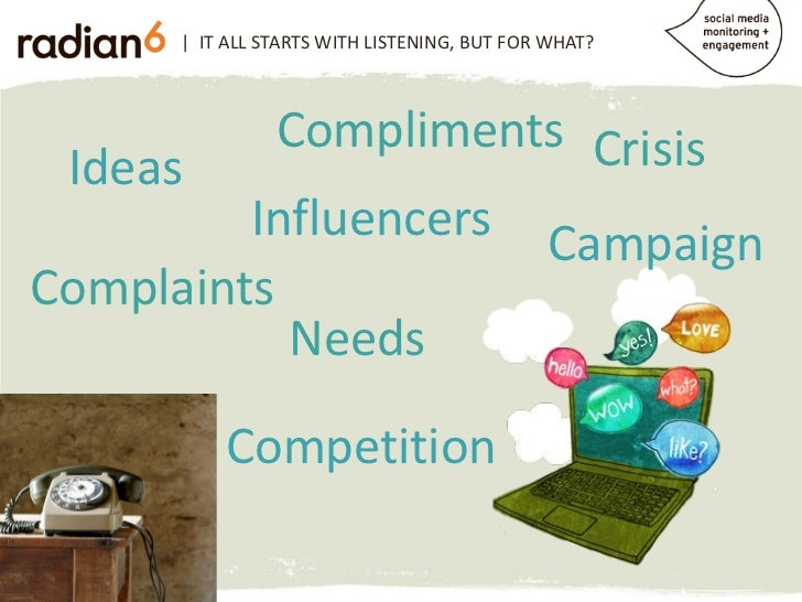 | IT ALL STARTS WITH LISTENING, BUT FOR WHAT?           Compliments Crisis Ideas         Influencers CampaignComplaints   ...