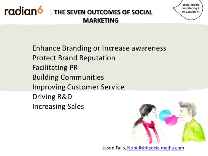 | THE SEVEN OUTCOMES OF SOCIAL              MARKETINGEnhance Branding or Increase awarenessProtect Brand ReputationFacilit...