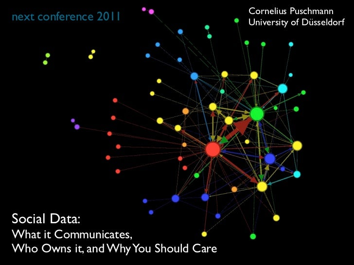 Cornelius Puschmannnext conference 2011                   University of DüsseldorfSocial Data:What it Communicates,Who Own...