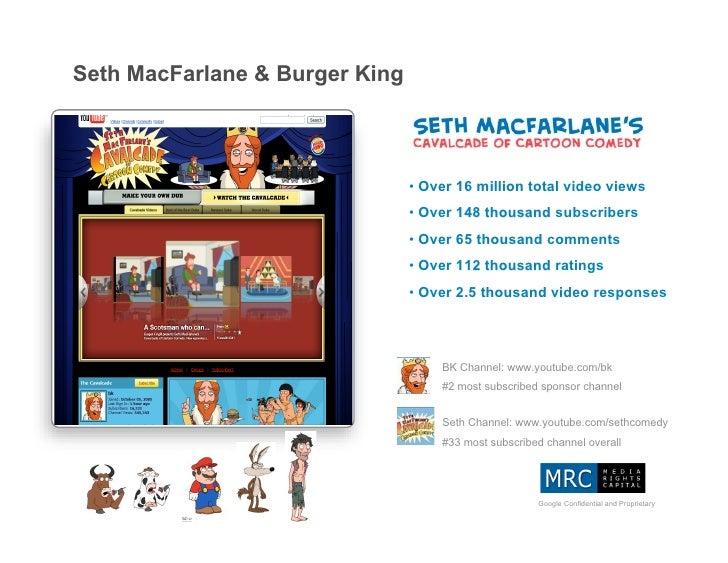 Seth MacFarlane & Burger King                                    • Over 16 million total video views                      ...
