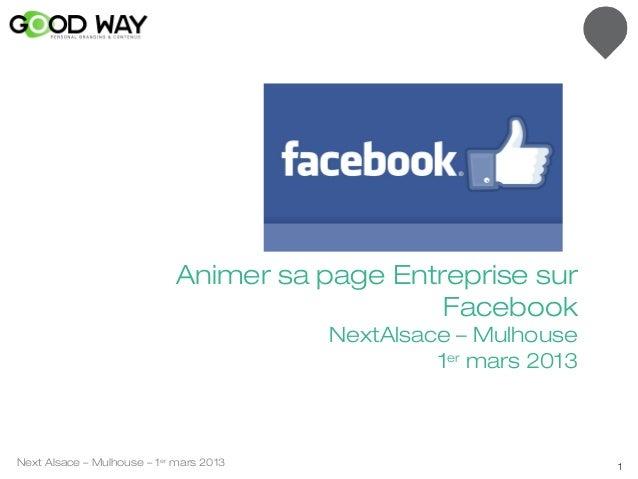 Animer sa page Entreprise sur                                               Facebook                                      ...