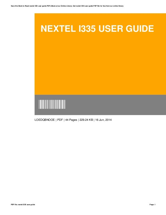 nextel i335 user guide rh slideshare net Nextel I355 Nextel I830