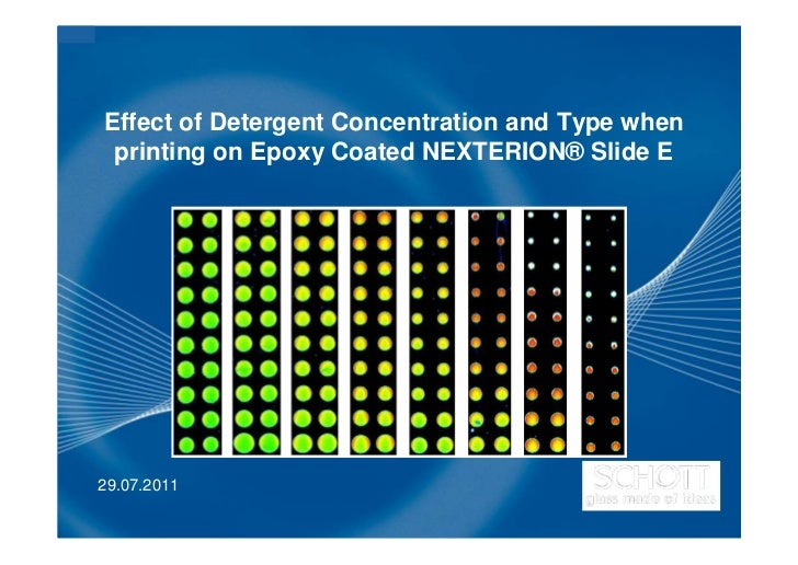 Effect of Detergent Concentration and Type when printing on Epoxy Coated NEXTERION® Slide E29.07.2011