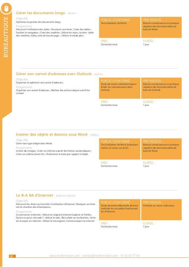 34e2e5f4291f21 Catalogue NextFormation des actions de formations 2014