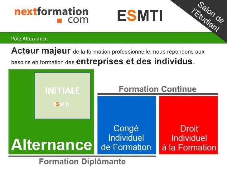 ESMTIPôle AlternanceActeur majeur de la formation professionnelle, nous répondons auxbesoins en formation des entreprises ...