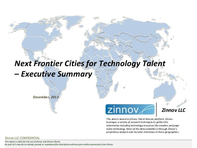 Next Frontier Cities for Technology Talent          – Executive Summary                              December, 2012       ...