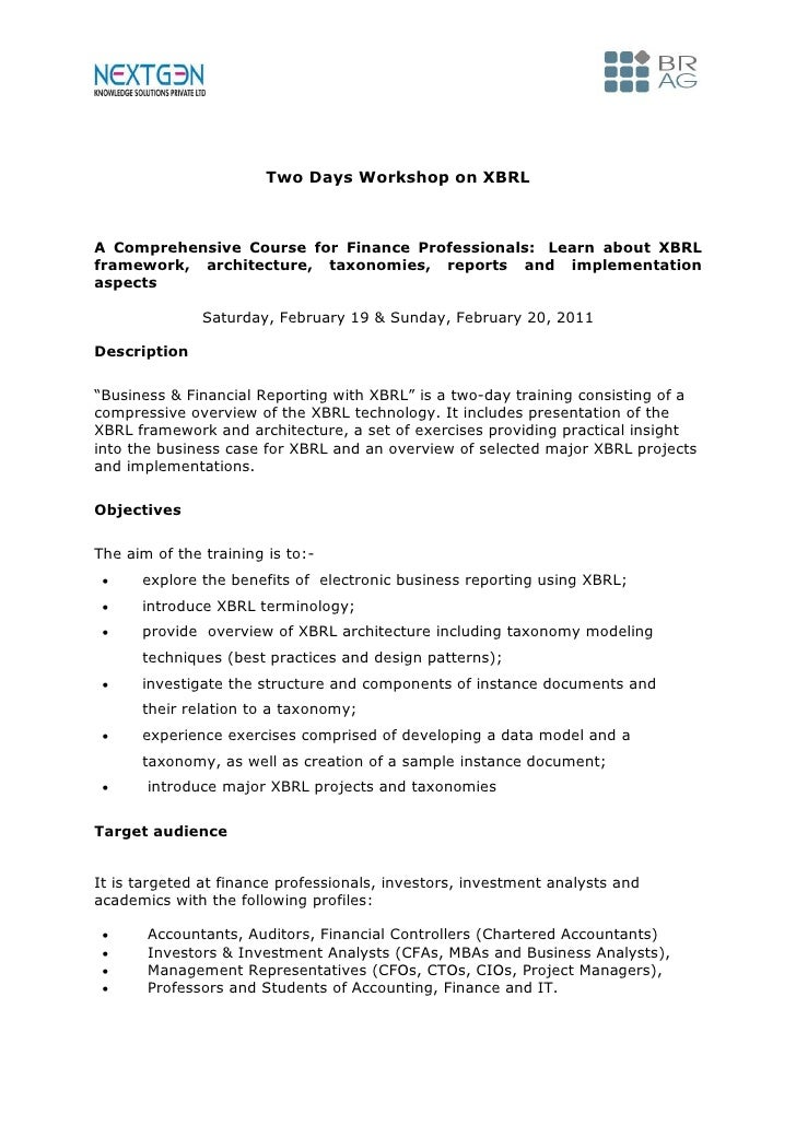 Two Days Workshop on XBRLA Comprehensive Course for Finance Professionals: Learn about XBRLframework, architecture, taxono...