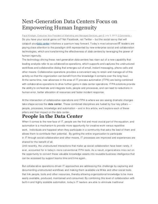 Next-Generation Data Centers Focus on Empowering Human Ingenuity Payal Kindiger, Executive Vice President of Marketing and...