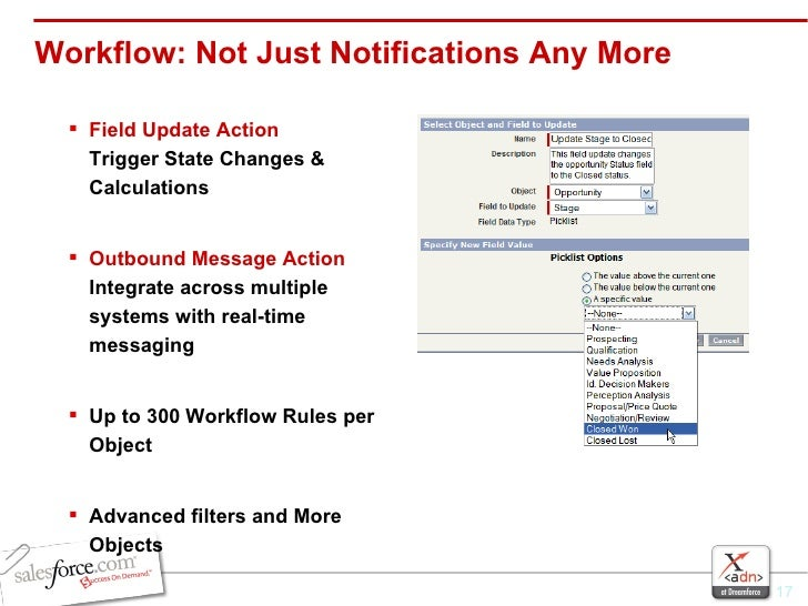 Workflow: Not Just Notifications Any More <ul><li>Field Update Action Trigger State Changes & Calculations </li></ul><ul><...