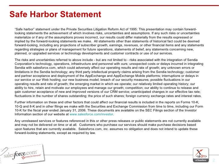 "Safe Harbor Statement <ul><li>"" Safe harbor"" statement under the Private Securities Litigation Reform Act of 1995: This pr..."