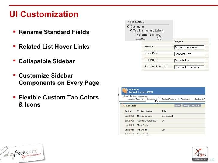 UI Customization <ul><li>Rename Standard Fields </li></ul><ul><li>Related List Hover Links </li></ul><ul><li>Collapsible S...