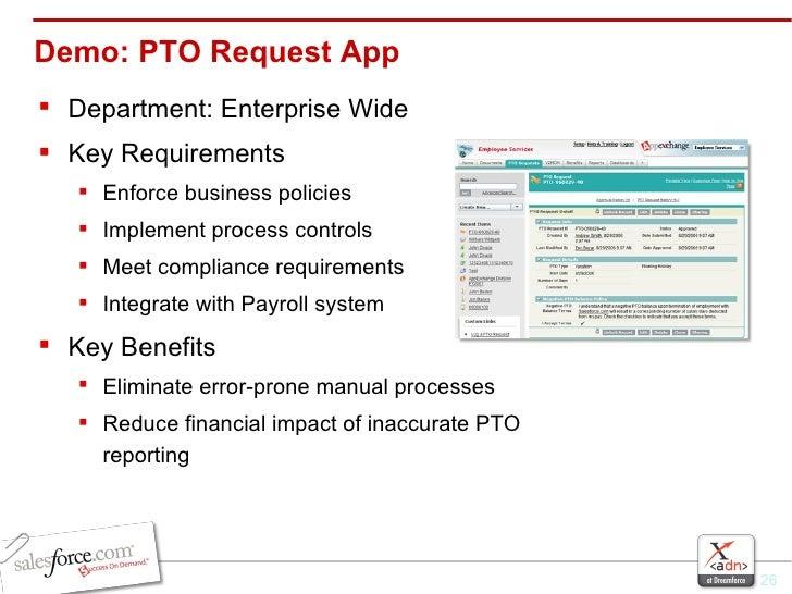 Demo: PTO Request App <ul><li>Department: Enterprise Wide </li></ul><ul><li>Key Requirements </li></ul><ul><ul><li>Enforce...