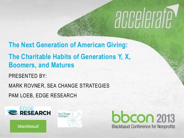 9/27/2013 #bbcon 1 The Next Generation of American Giving: The Charitable Habits of Generations Y, X, Boomers, and Matures...
