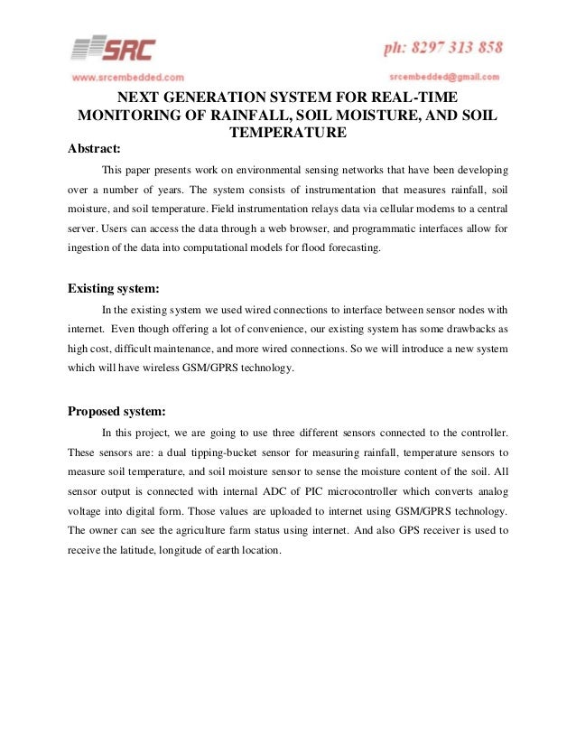 NEXT GENERATION SYSTEM FOR REAL-TIME MONITORING OF RAINFALL, SOIL MOISTURE, AND SOIL TEMPERATURE Abstract: This paper pres...